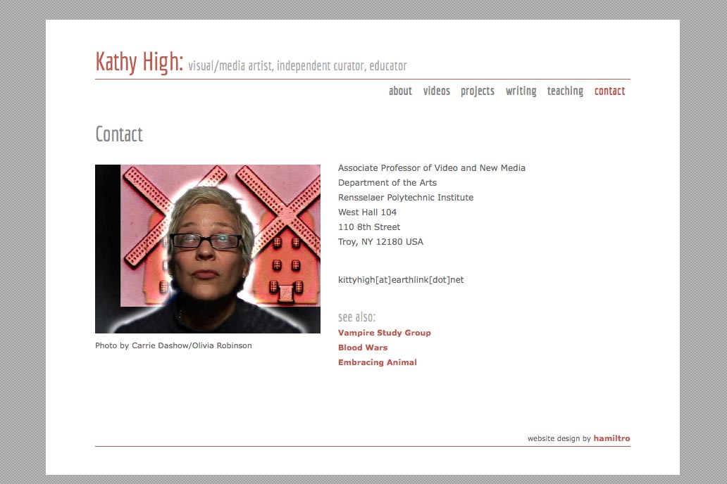 web design for a new media artist - Kathy High - contact page