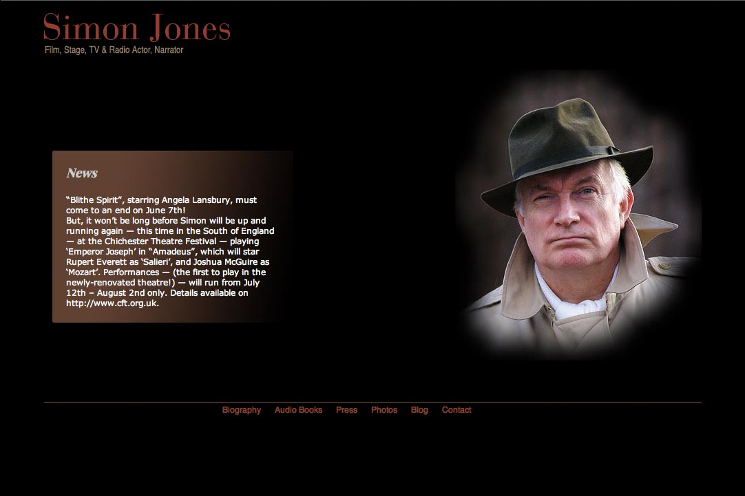 web design for a new york actor - Simon Jones