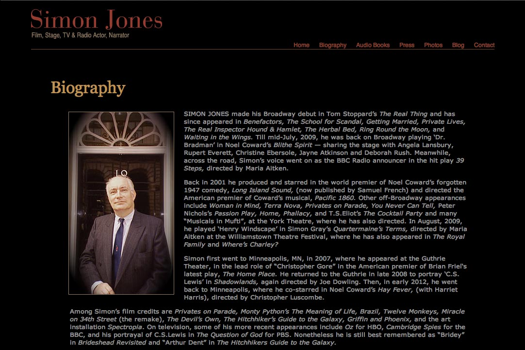 web design for a new york actor - Simon Jones - biography page
