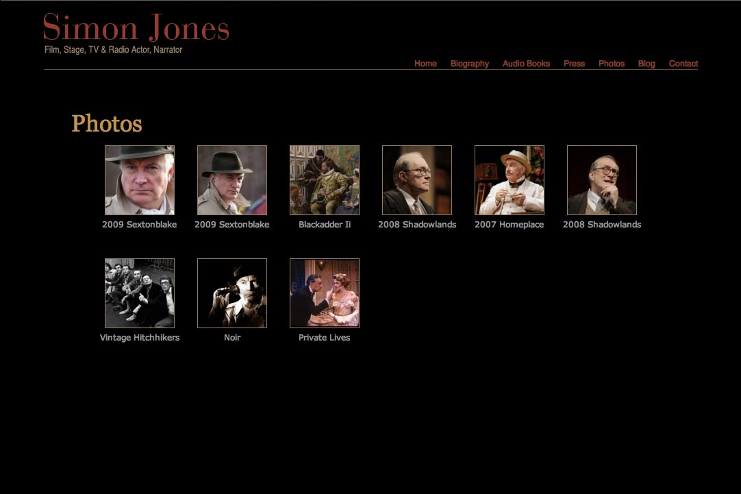 web design for a new york actor - Simon Jones - photo gallery landing page