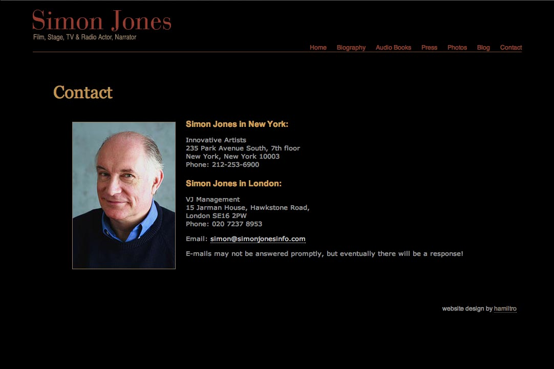 web design for a new york actor website - Simon Jones - contact page