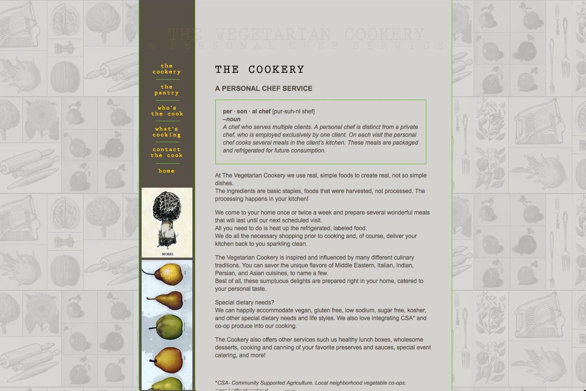 web design for a personal chef business - the vegetarian cookery - about page