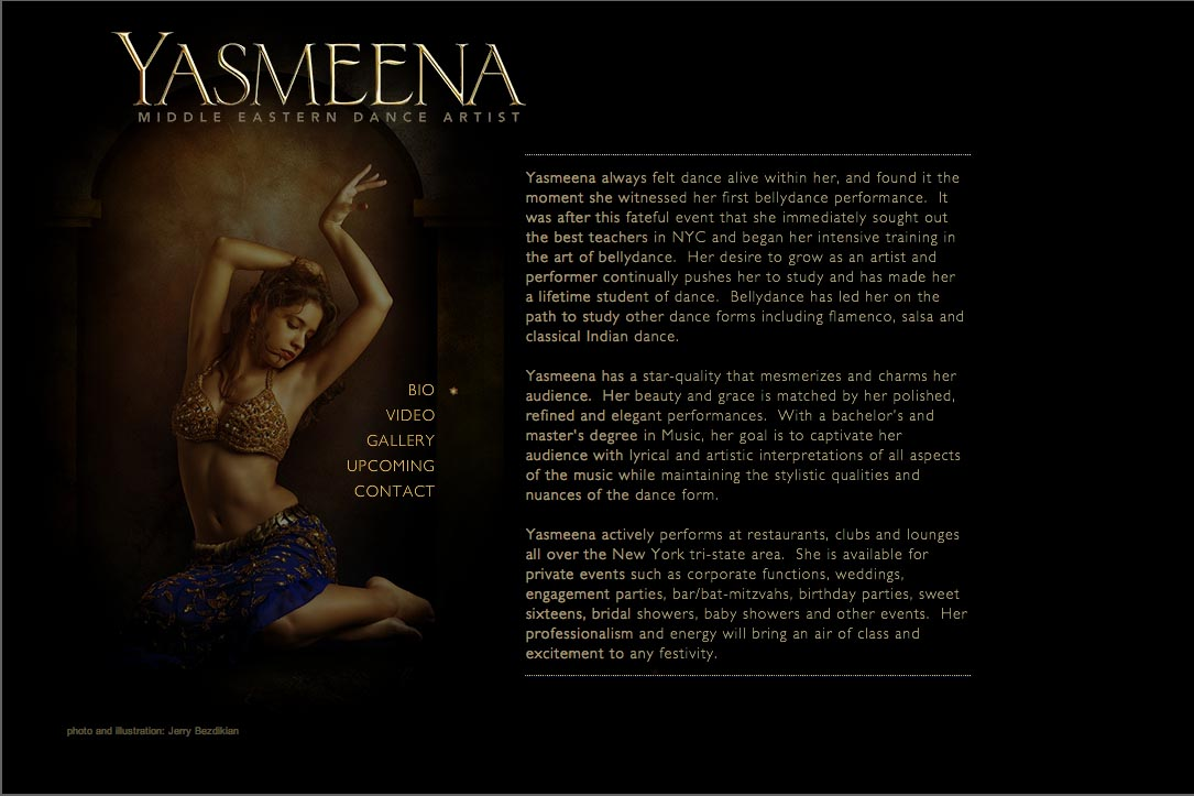 web design for a belly dancer in New York - Yasmeena - about page