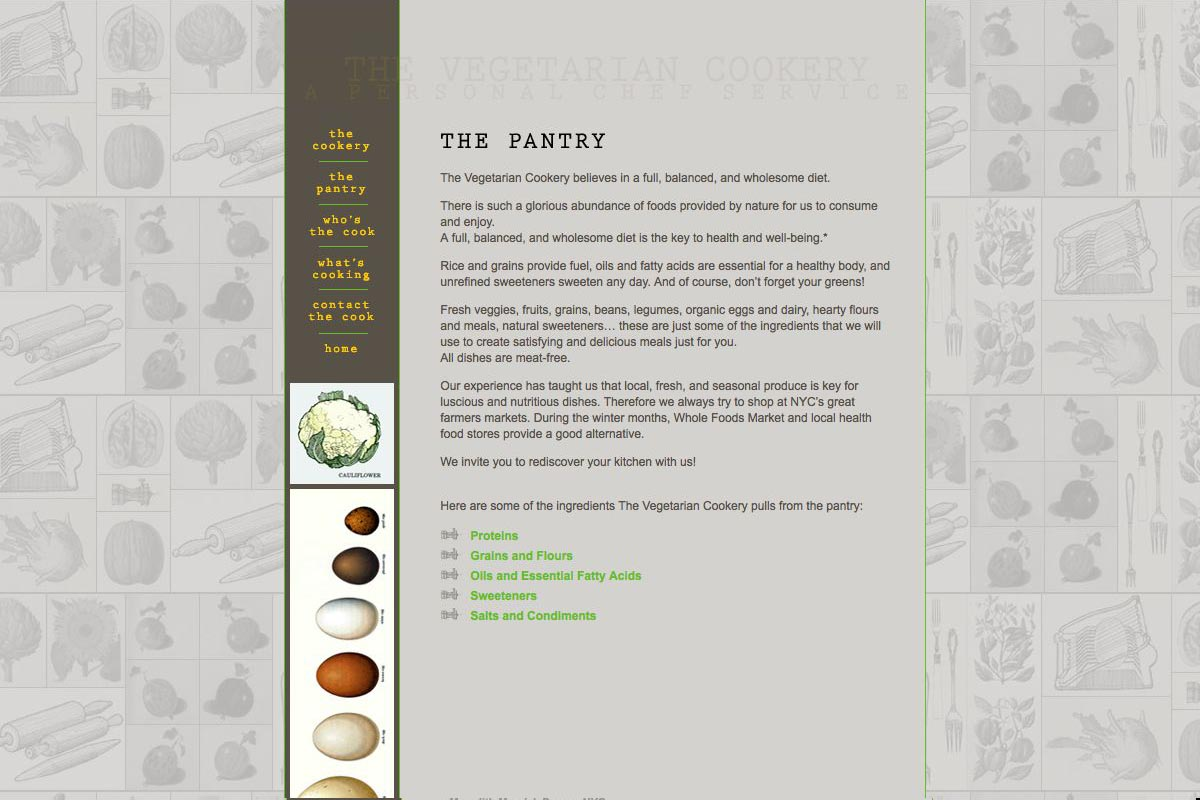 web design for a personal chef business - the vegetarian cookery - pantry page