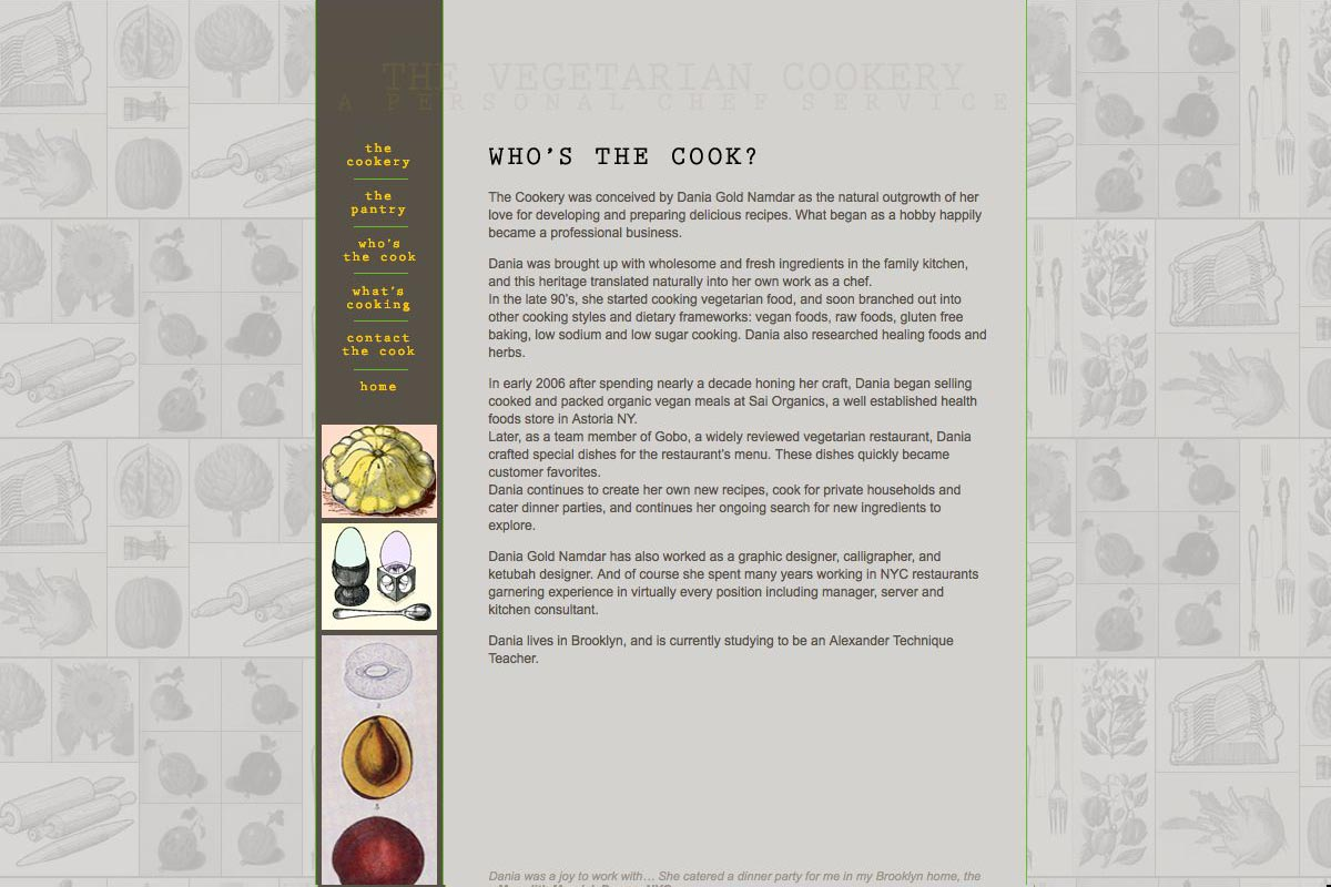 web design for a personal chef business - the vegetarian cookery - about the cook Dania Gold Namdar