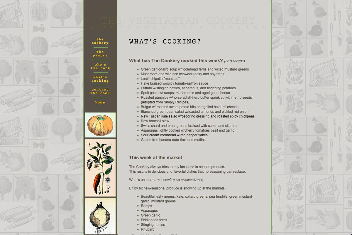 web design for a personal chef business - the vegetarian cookery - what's cooking page