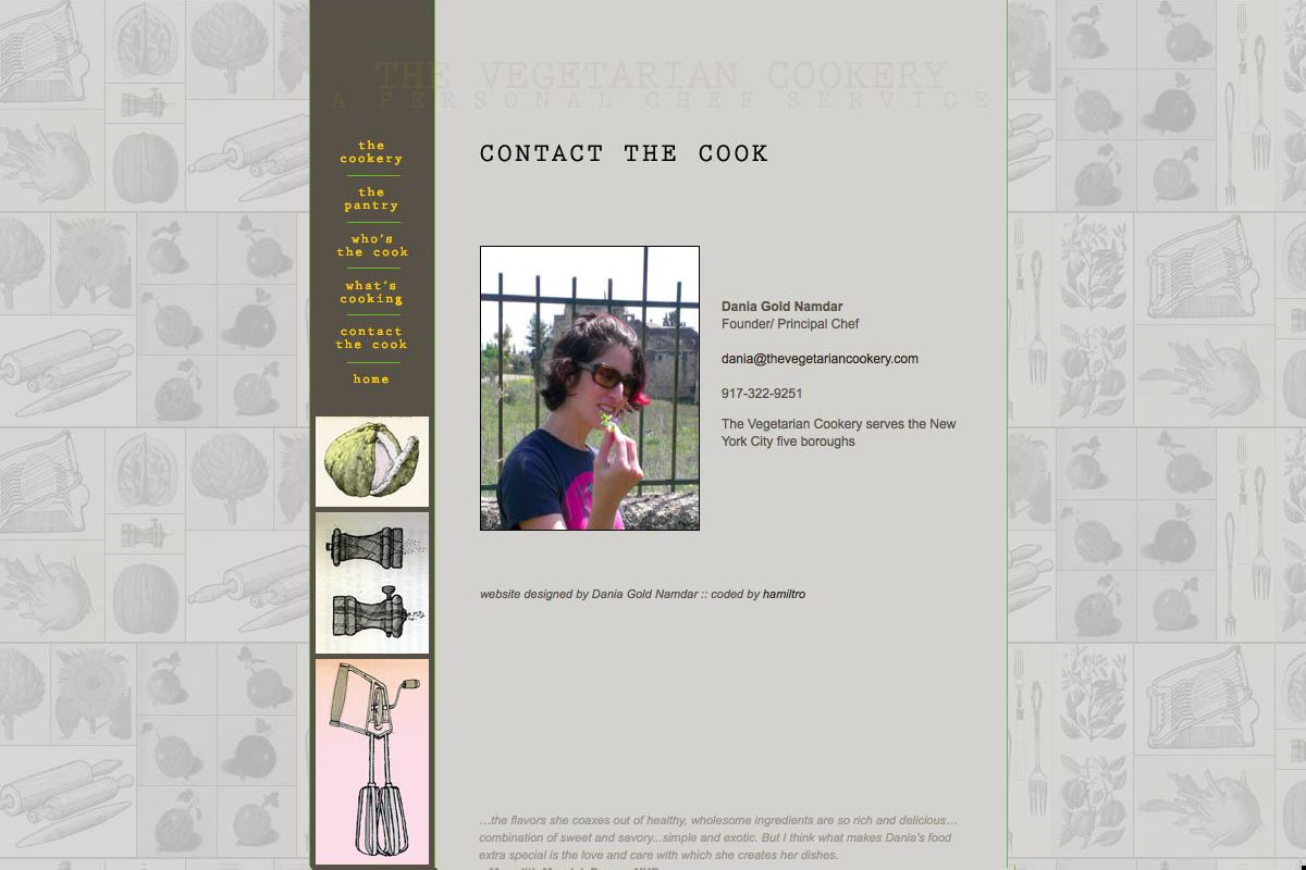 web design for a personal chef business - the vegetarian cookery - contact page for Dania Gold Namdar