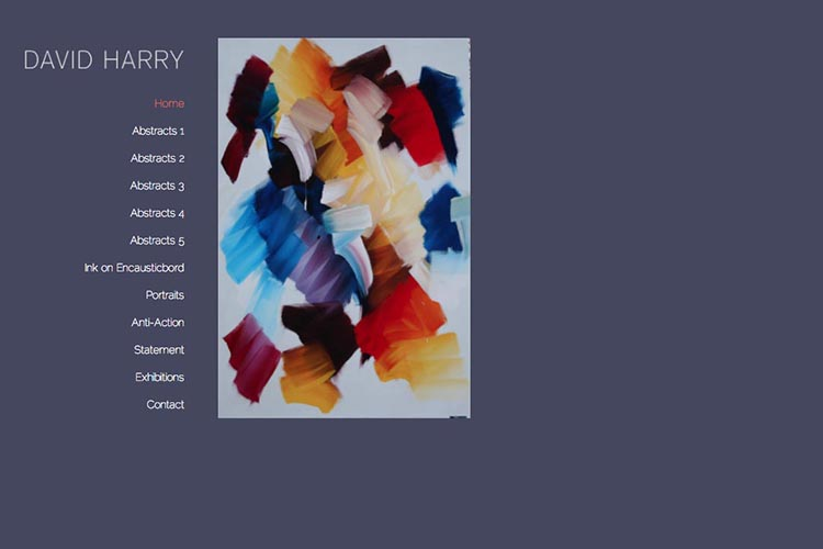 web design for an abstract artist - David Harry home page