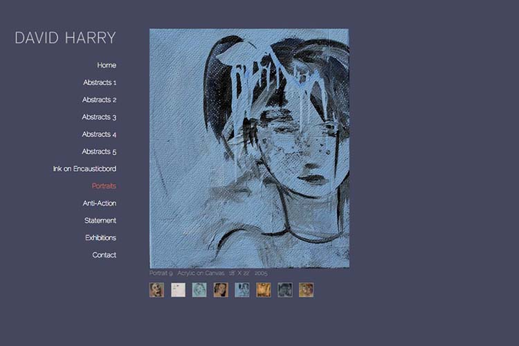 web design for an abstract artist - portraits page