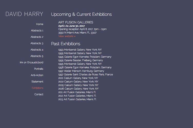 web design for an abstract artist - exhibitions page