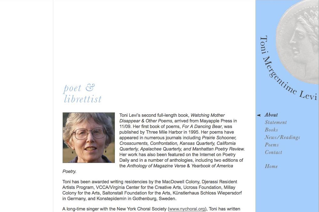 web design for a poet and fundraiser - about Toni Levi page