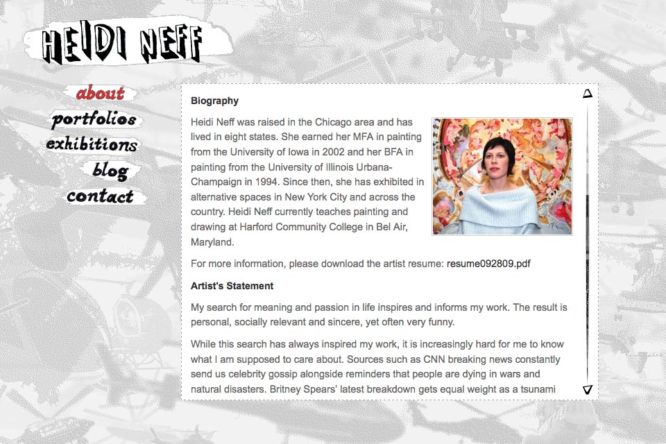 web design for an artist - Heidi Neff - about page