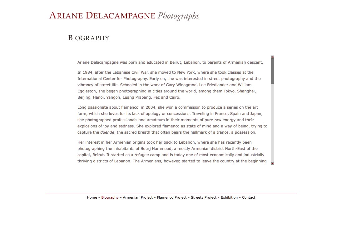 web design for a photographer - Ariane Delacampagne - biography page