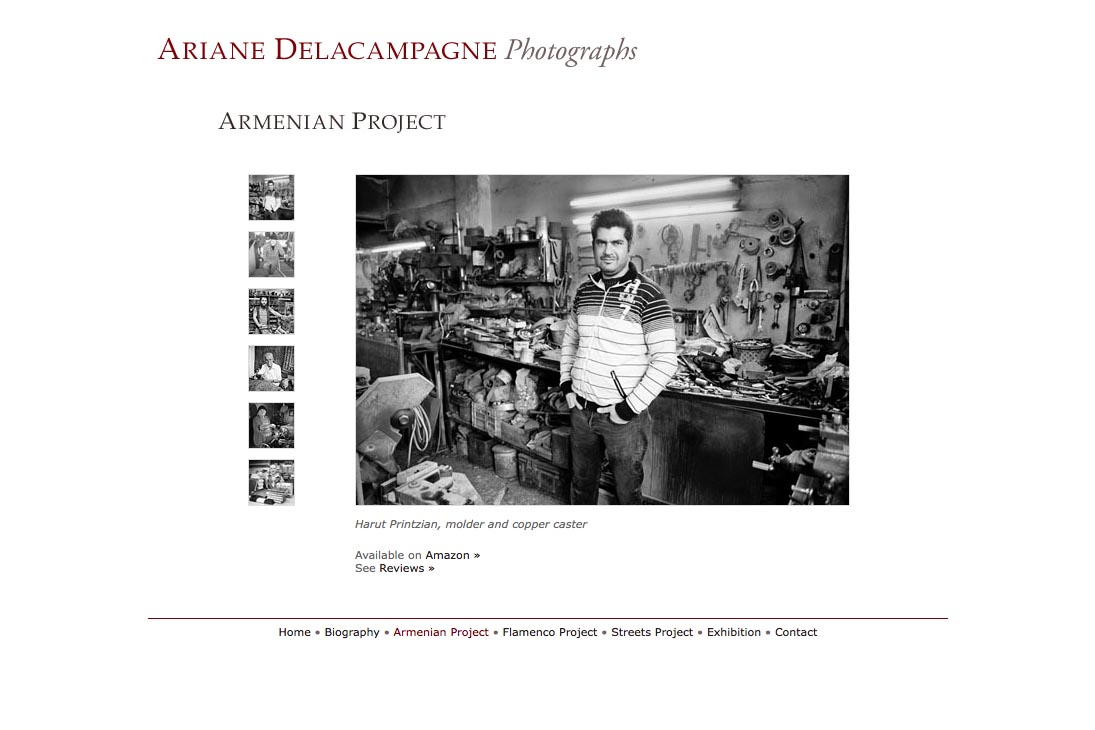 web design for a photographer - Ariane Delacampagne - Armenian photography project page