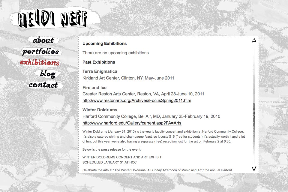 web design for an artist - Heidi Neff - exhibitions page