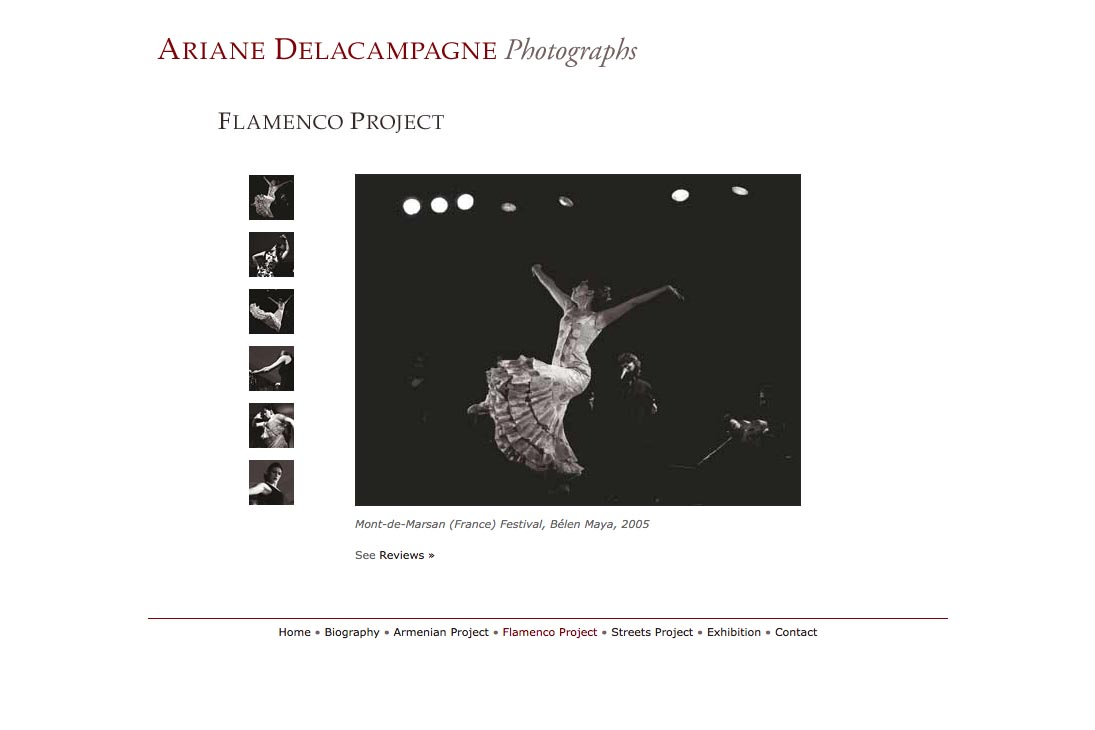 web design for a photographer - Ariane Delacampagne - flamenco photography project page