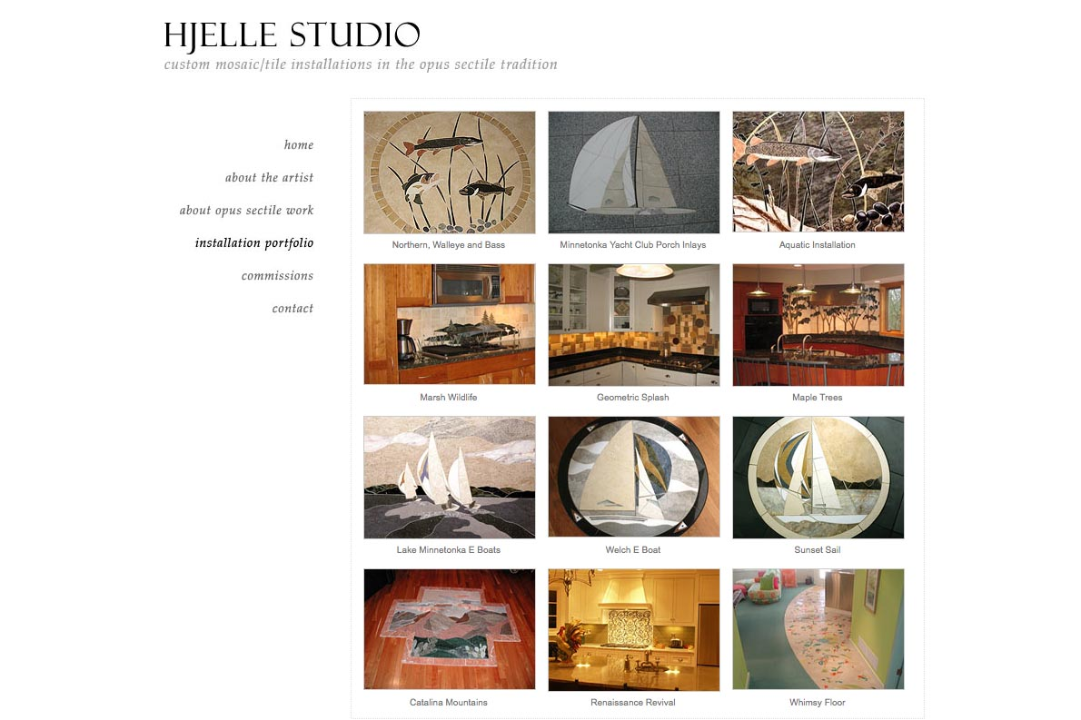web design for a mosaic tile designer - portfolio page