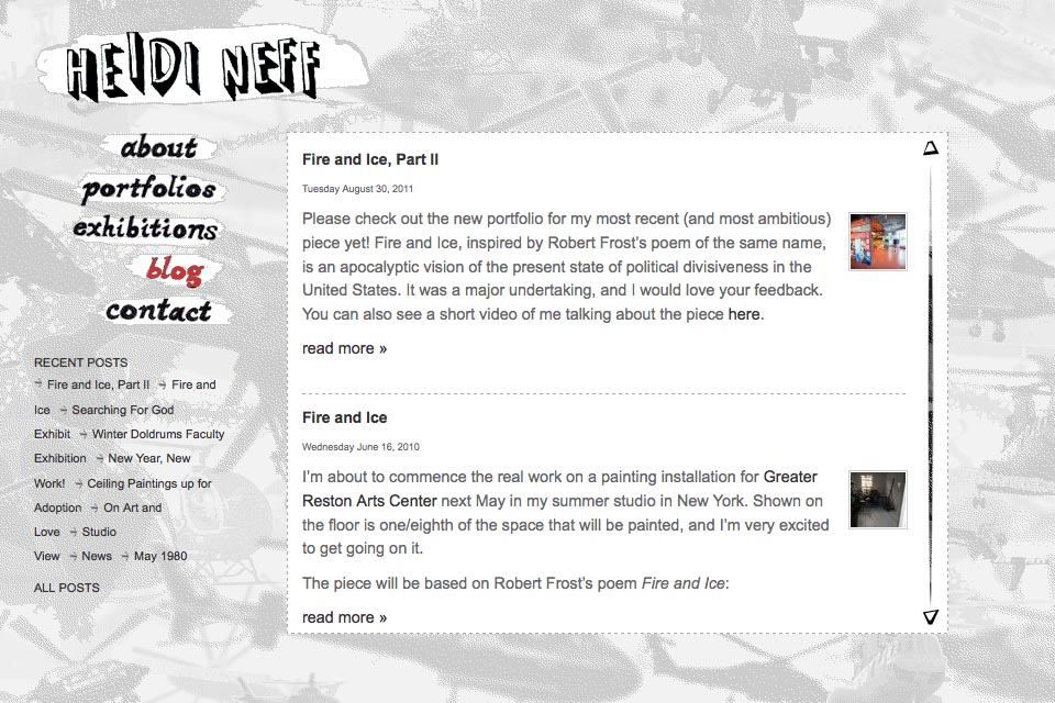 web design for an artist - blog page