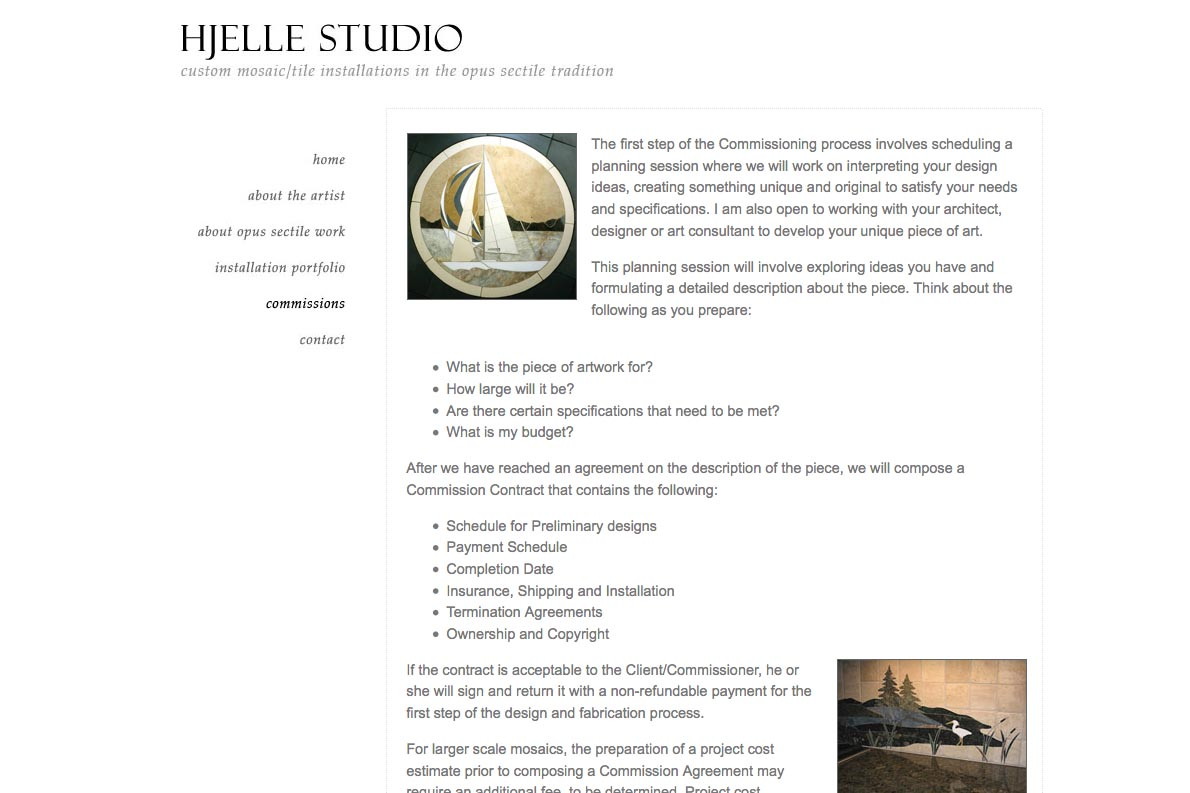 web design for a mosaic tile designer - commissions page