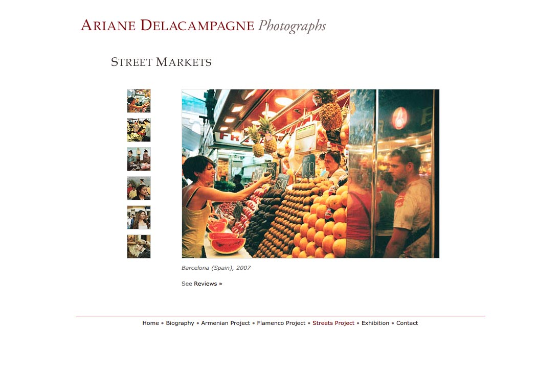 web design for a photographer - Ariane Delacampagne - street photography project page