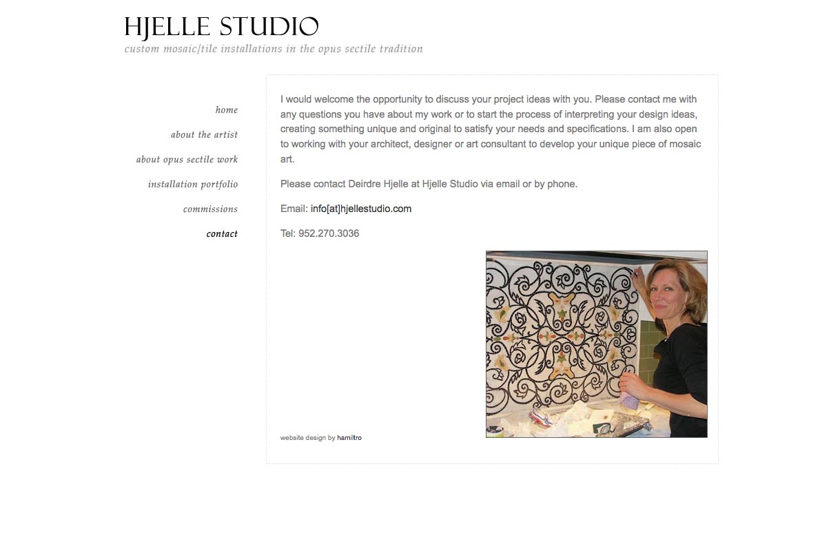 web design for a mosaic tile designer - contact page