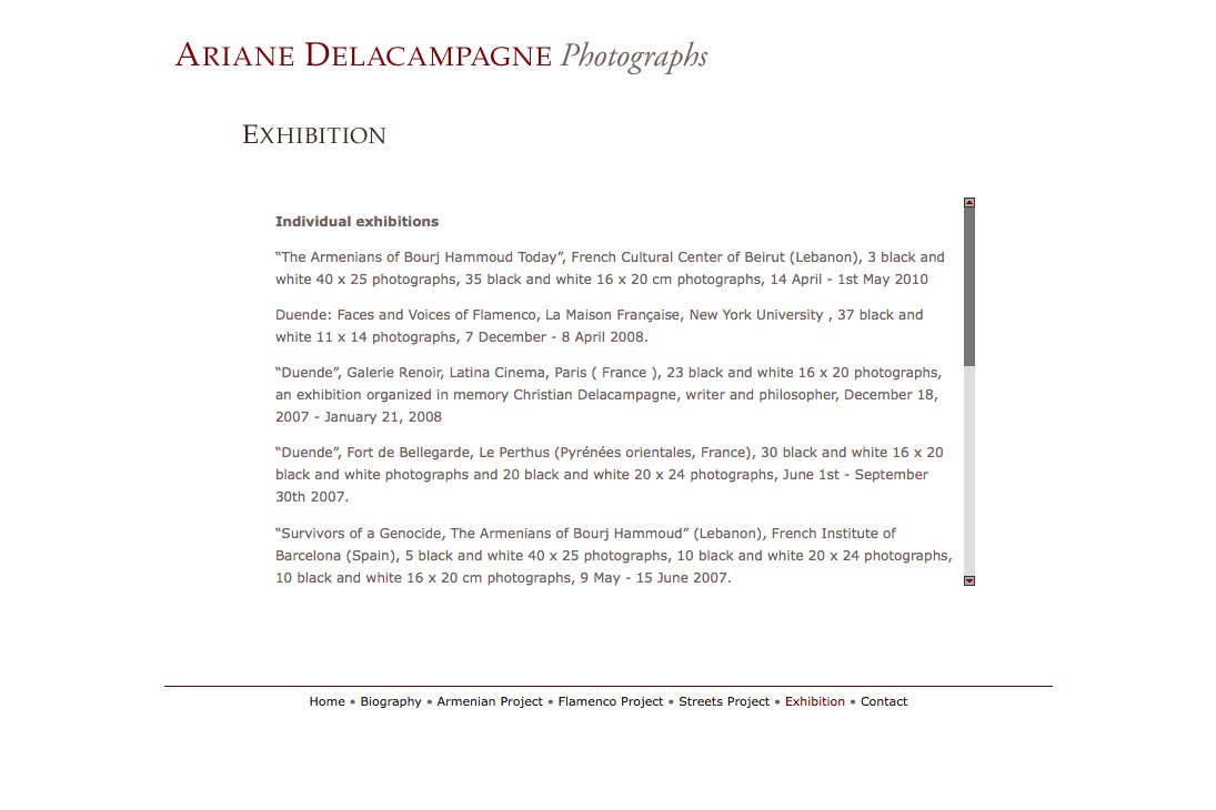 web design for a photographer - Ariane Delacampagne - exhibitions page