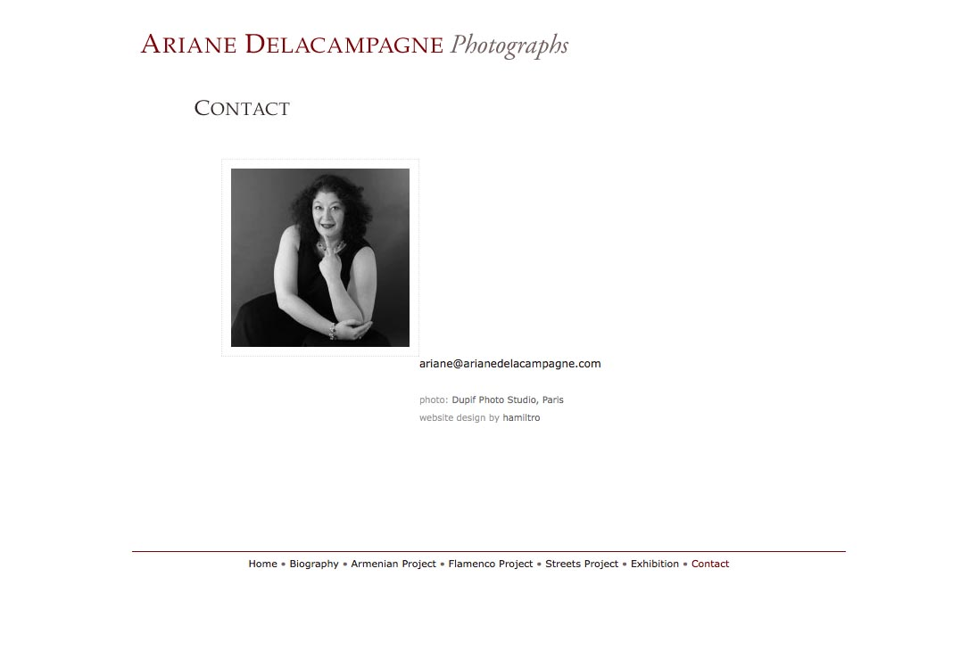 web design for a photographer - Ariane Delacampagne - contact page