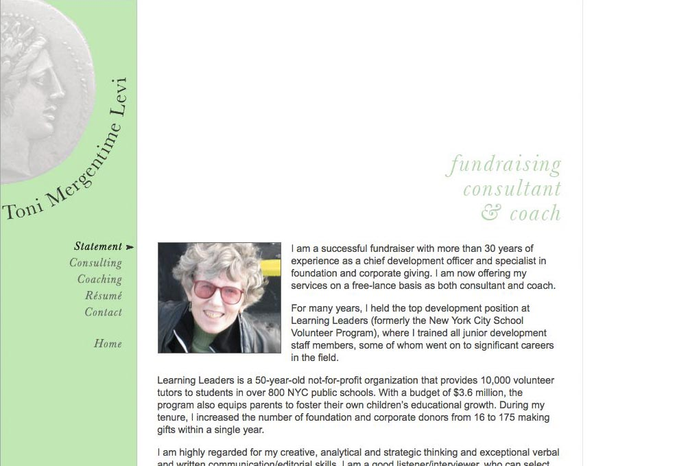 web design for a poet and fundraiser - Toni Levi - fundraiser statement page