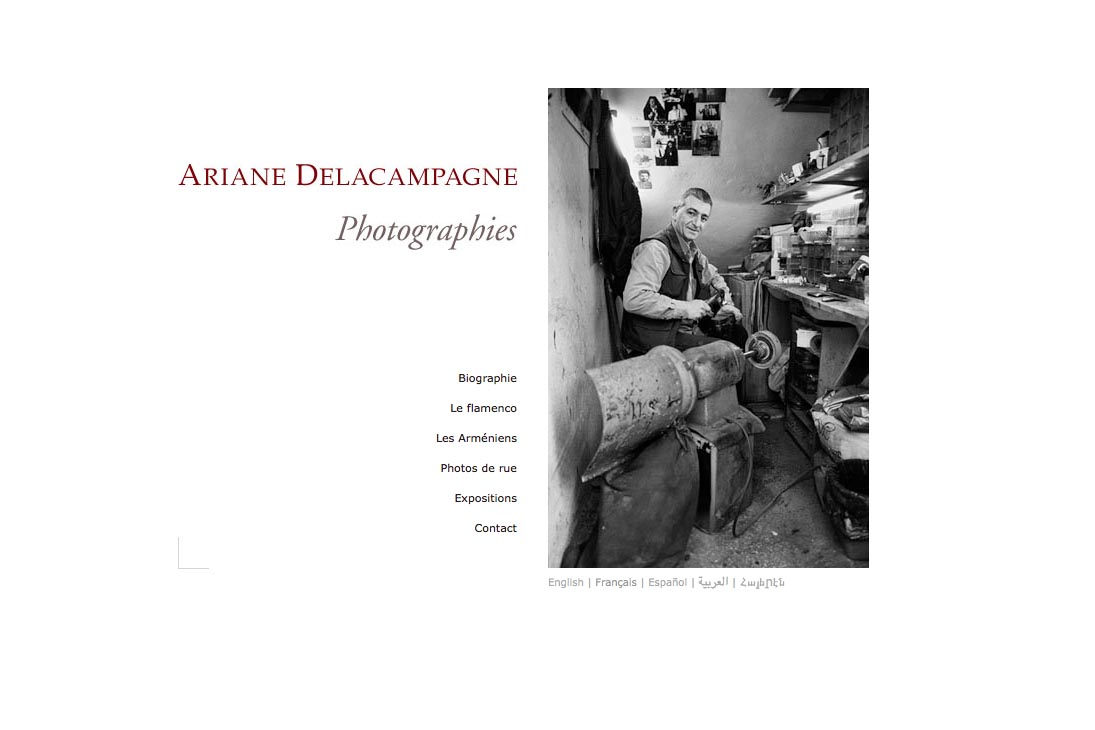 multilingual website web design for a photographer - Ariane Delacampagne - French version of homepage