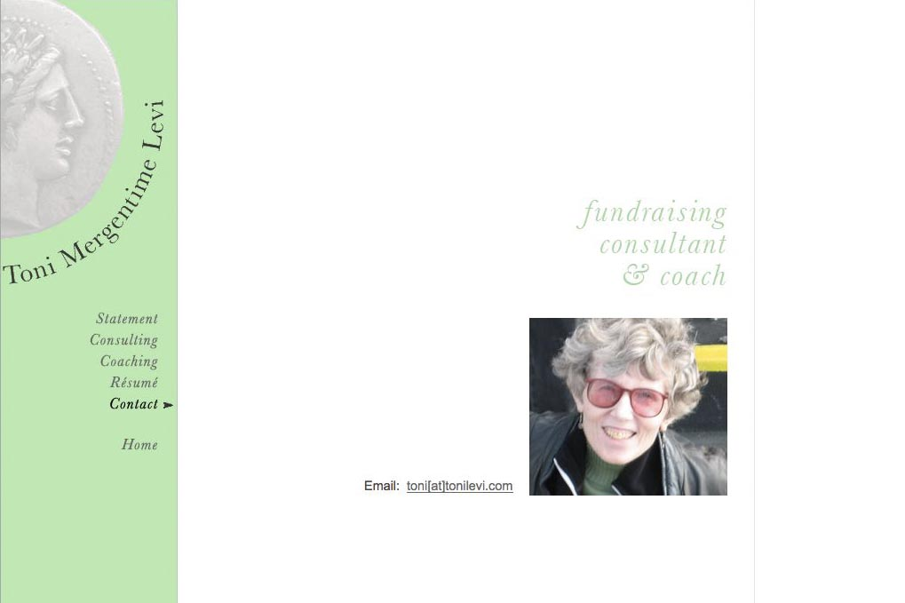 web design for a poet and fundraiser - contact the consultant page