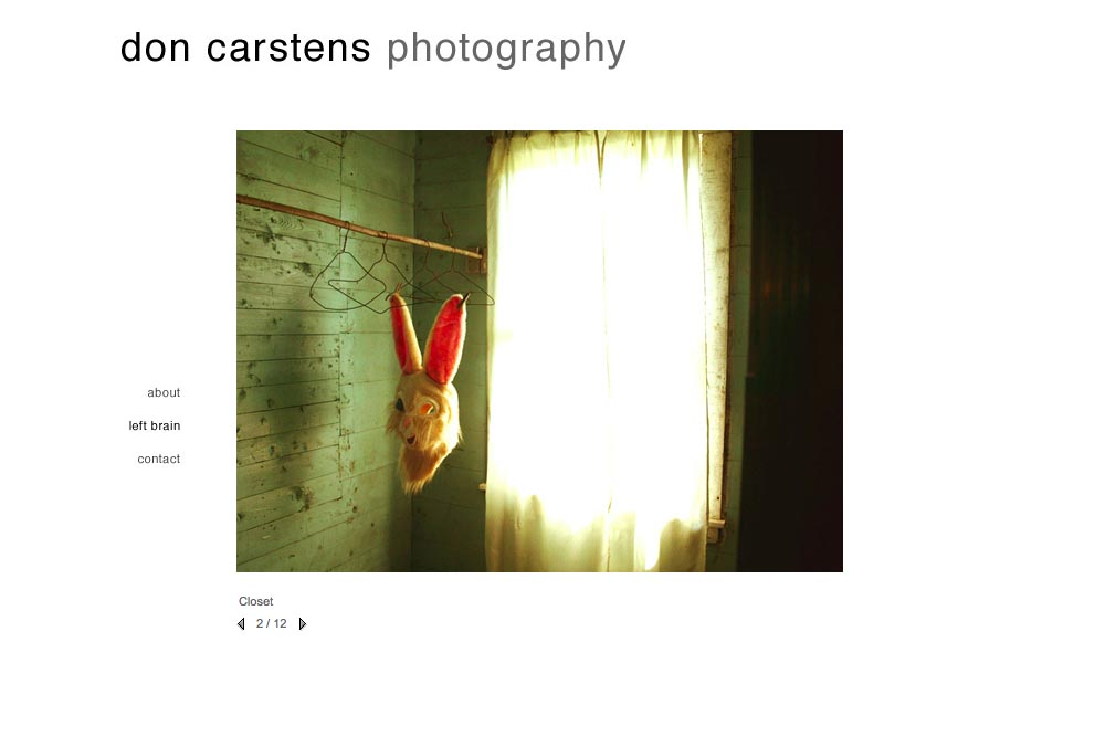 web design for a photographer of aggression - Don Carstens - left brain portfolio 2