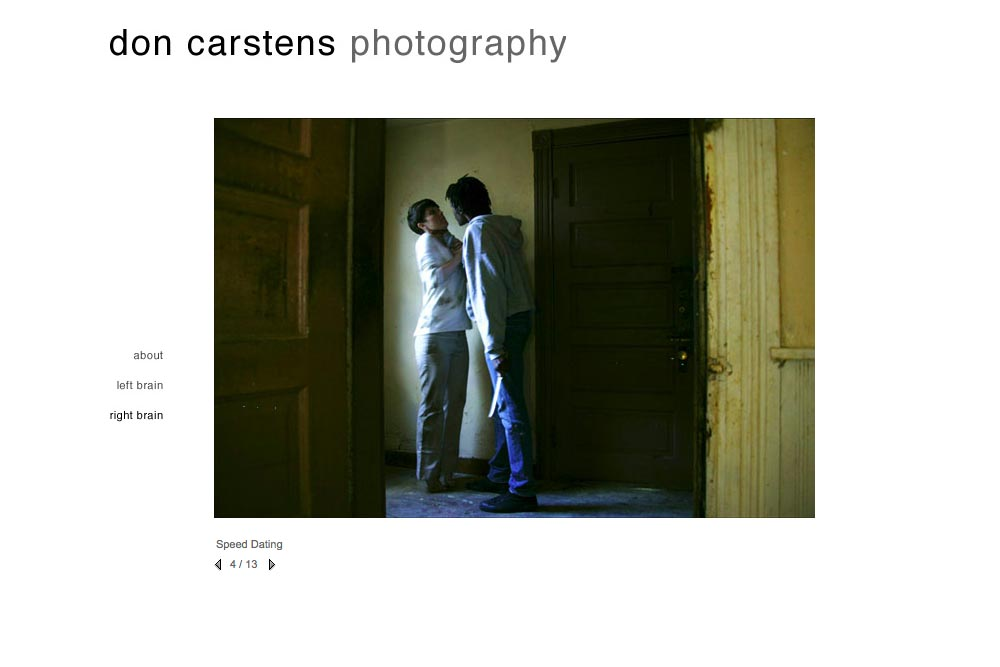 web design for a photographer of aggression - Don Carstens - right brain portfolio 2