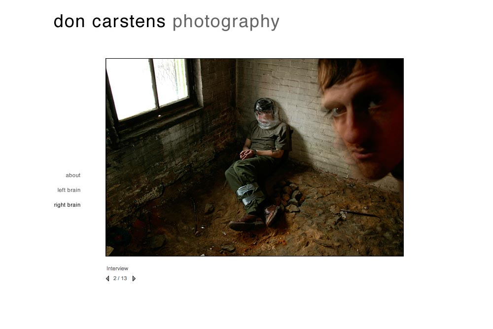 web design for a photographer of aggression - Don Carstens - right brain portfolio 3