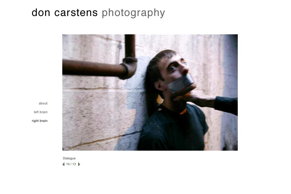 web design for a photographer of aggression - Don Carstens - right brain portfolio 4