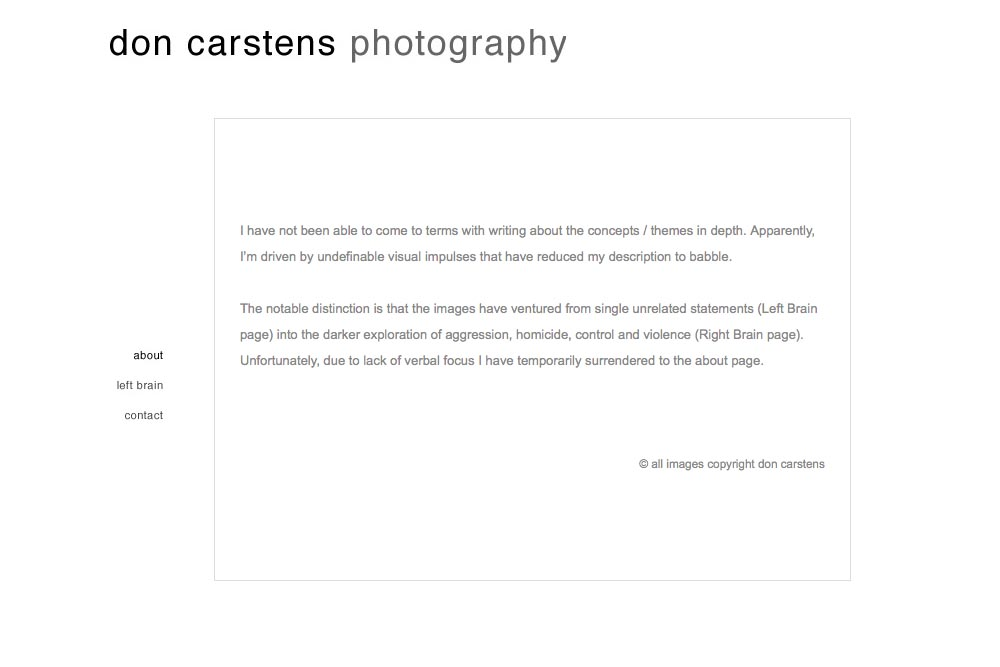 web design for a photographer of aggression - about page