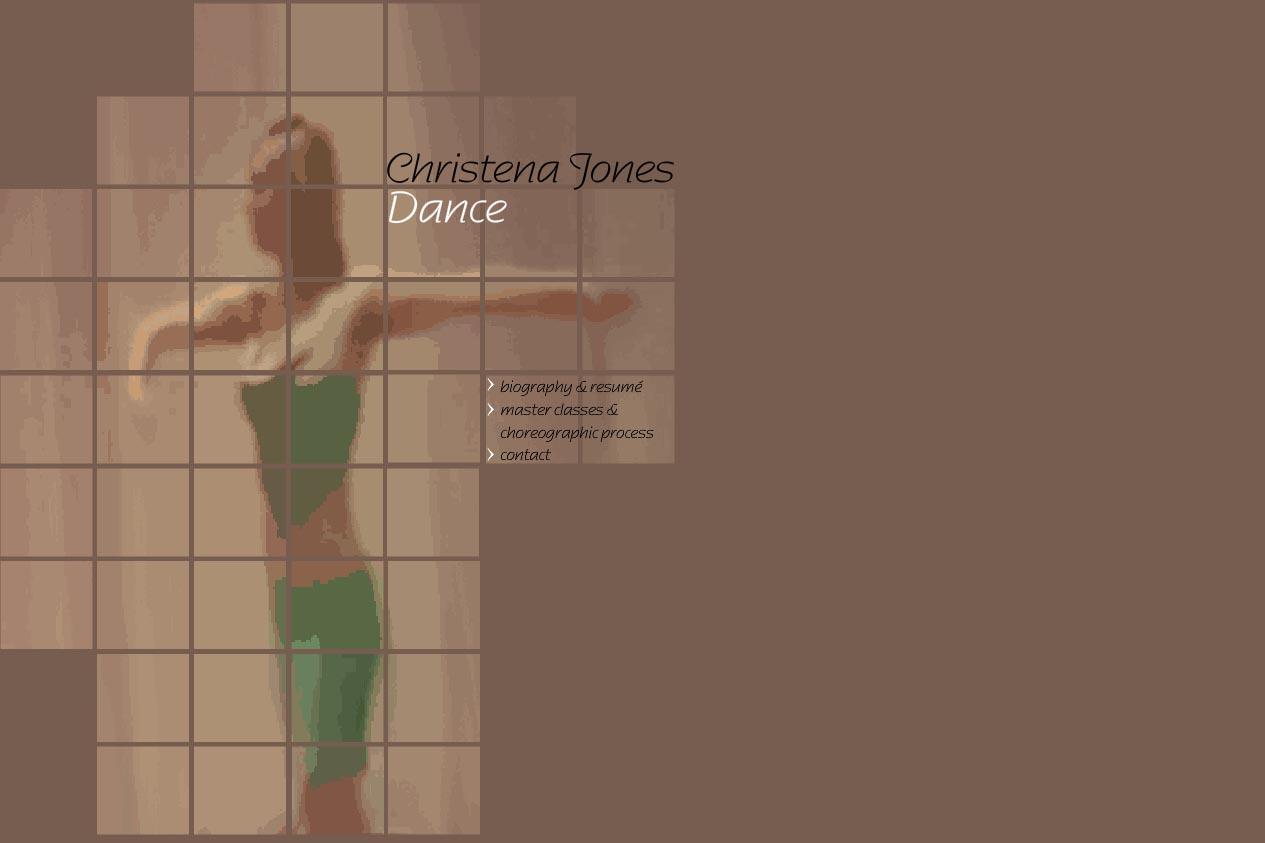 web design for a dancer - Christena Jones - home page