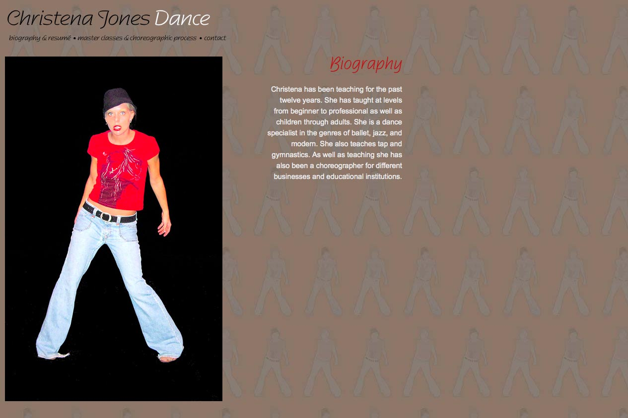 web design for a dancer - Christena Jones - about page