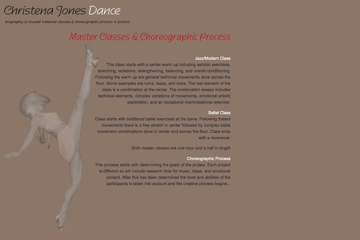 web design for a dancer - Christena Jones - classes page