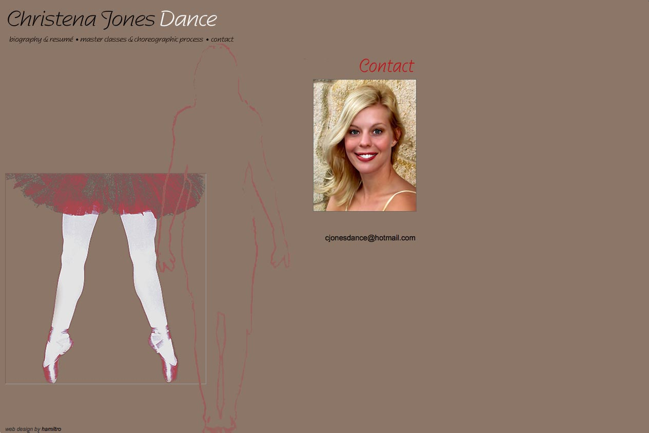web design for a dancer - Christena Jones - contact page