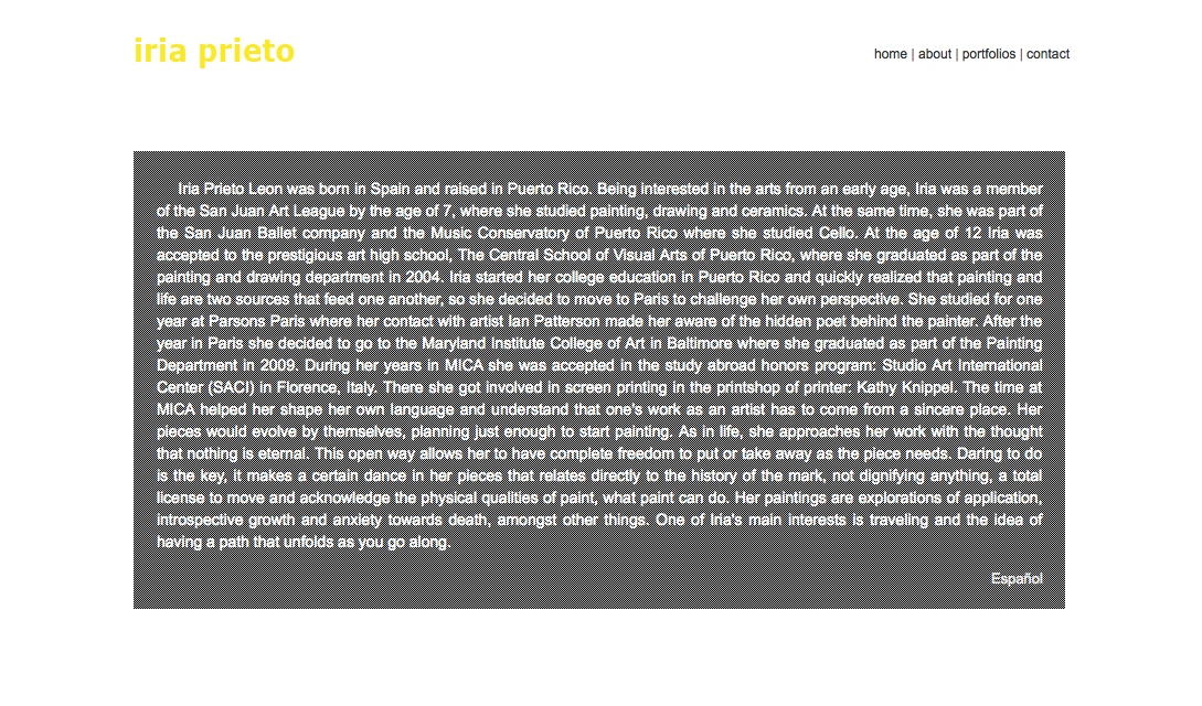 web design for a young artist - Iria Prieto - about page