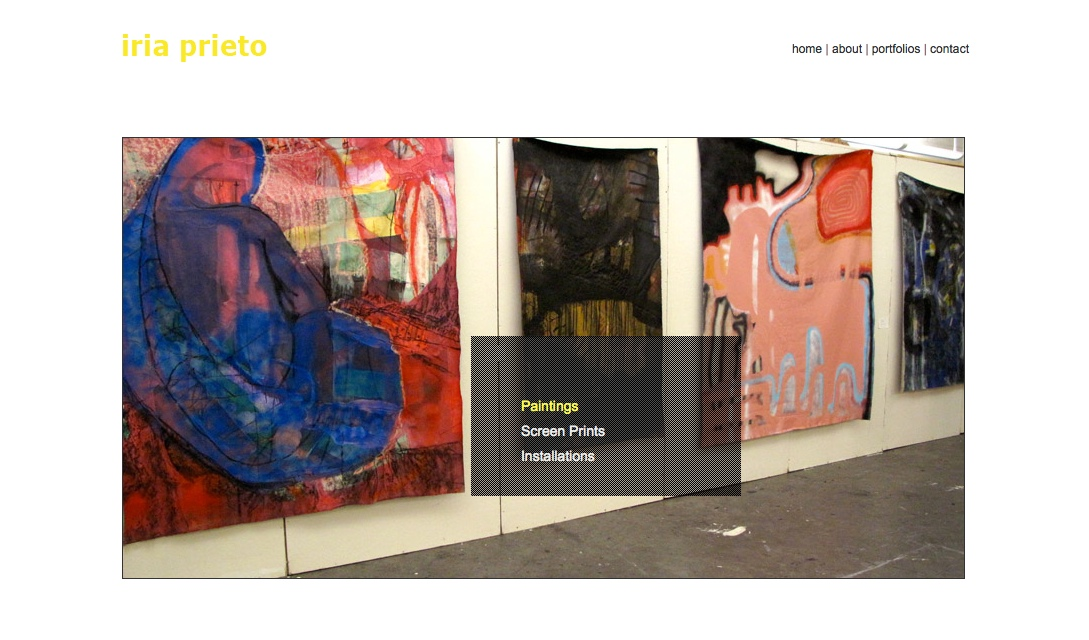 web design for a young artist - Iria Prieto - paintings landing page