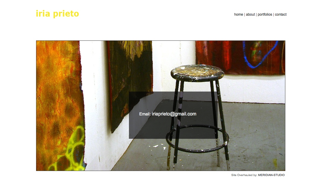 web design for a young artist - contact page