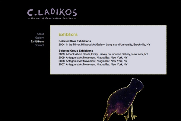 web design for an artist - exhibitions page