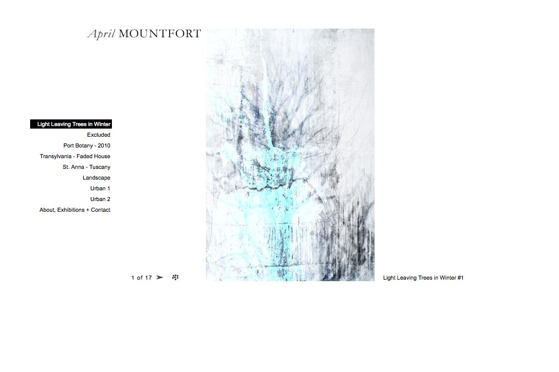 web design for a photographic artist - April Mountfort - single artwork page from light leaving trees portfolio