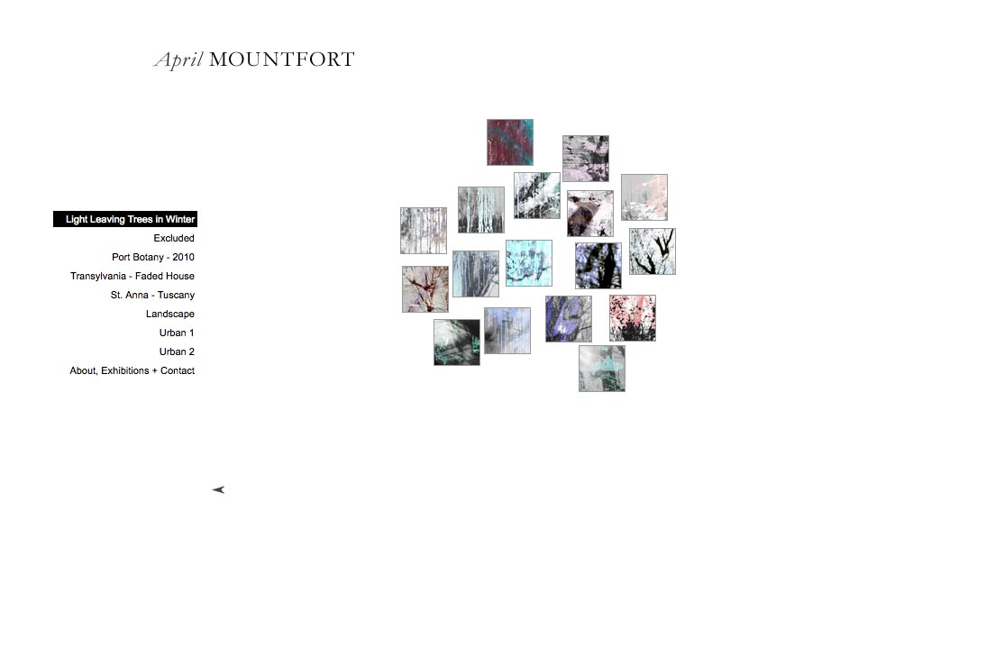 web design for a photographic artist - April Mountfort - thumbnails page for light leaving trees portfolio