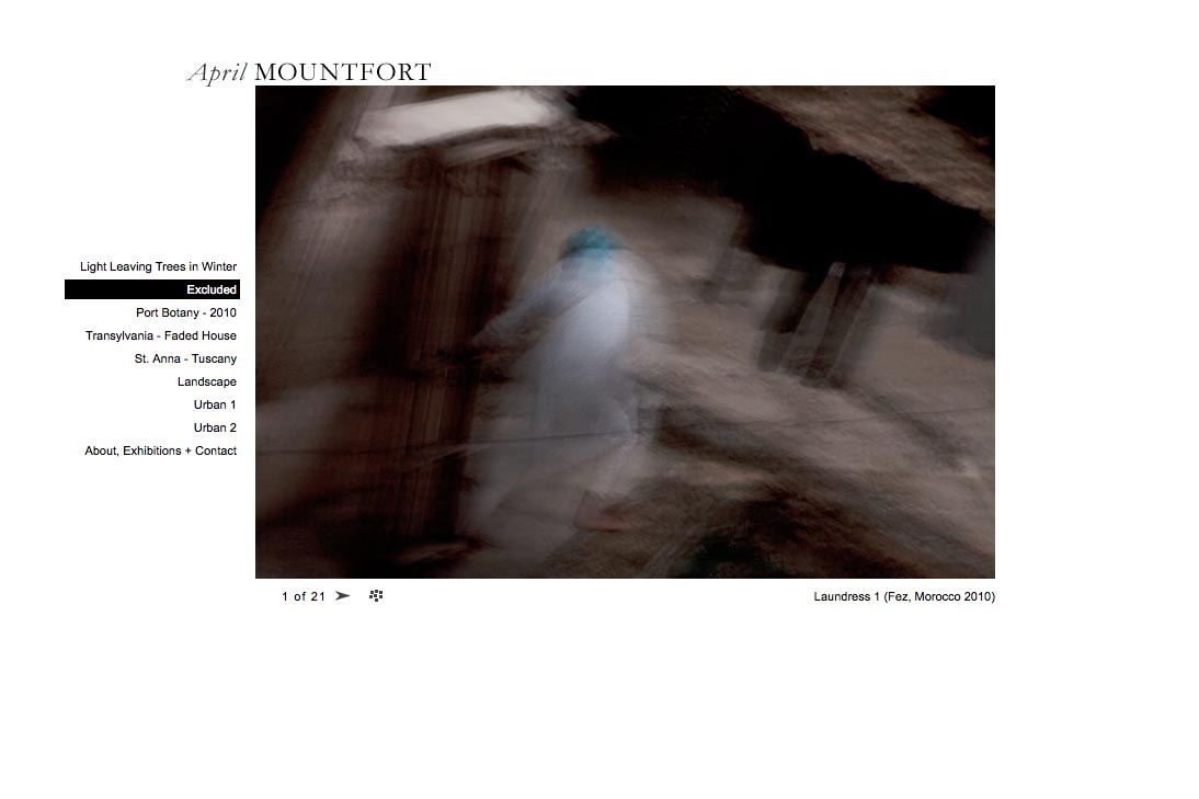 web design for a photographic artist - April Mountfort - single artwork page from excluded portfolio