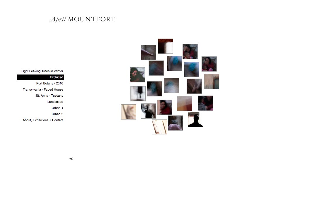 web design for a photographic artist - April Mountfort - thumbnails page for excluded portfolio