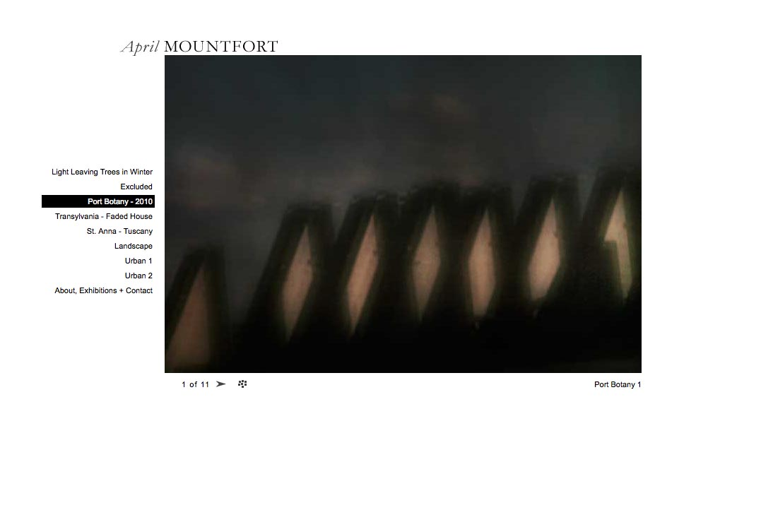 web design for a photographic artist - April Mountfort - single artwork page from port botany portfolio