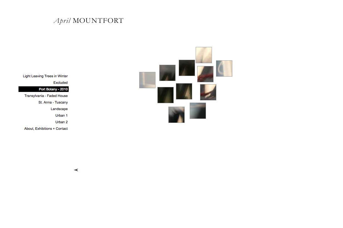 web design for a photographic artist - April Mountfort - thumbnails page for port botany portfolio