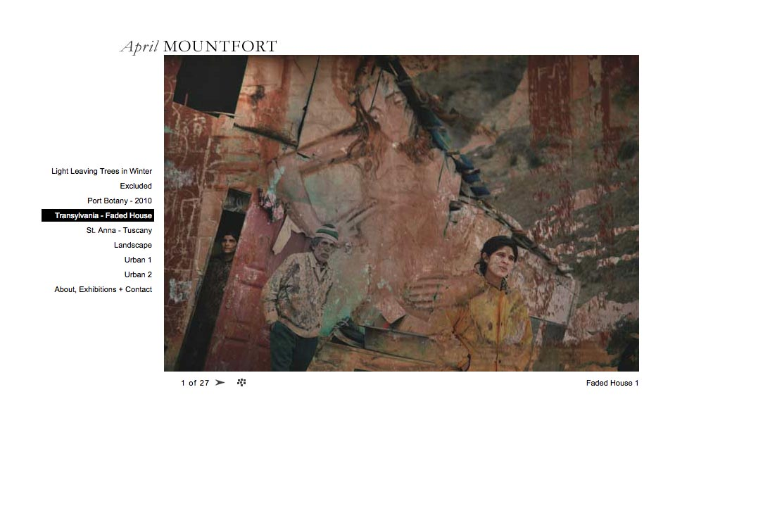 web design for a photographic artist - April Mountfort - single artwork page from transylvania portfolio